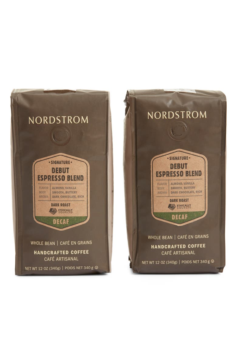 NORDSTROM Ethically Sourced Decaf Debut Espresso Blend 2-Pack Whole Bean Coffee, Main, color, 200