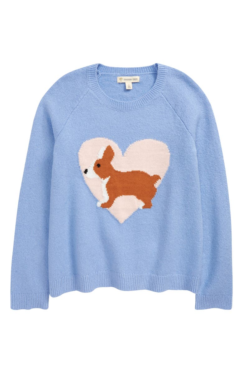 TUCKER + TATE Kids' Icon Sweater, Main, color, BLUE HAZE CORGI HEART