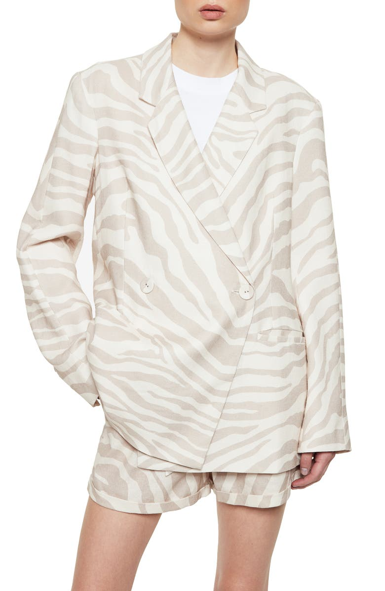 ANINE BING Kaia Zebra Stripe Blazer, Main, color, 250