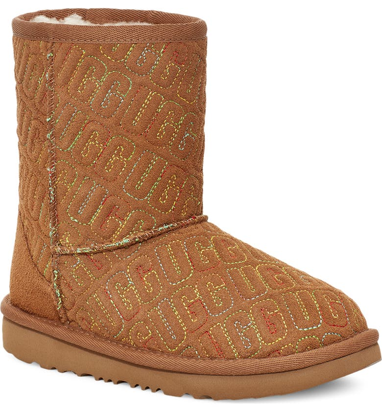 UGG<SUP>®</SUP> Kids' Classic II Graphic Stitch Short Boot, Main, color, CHESTNUT