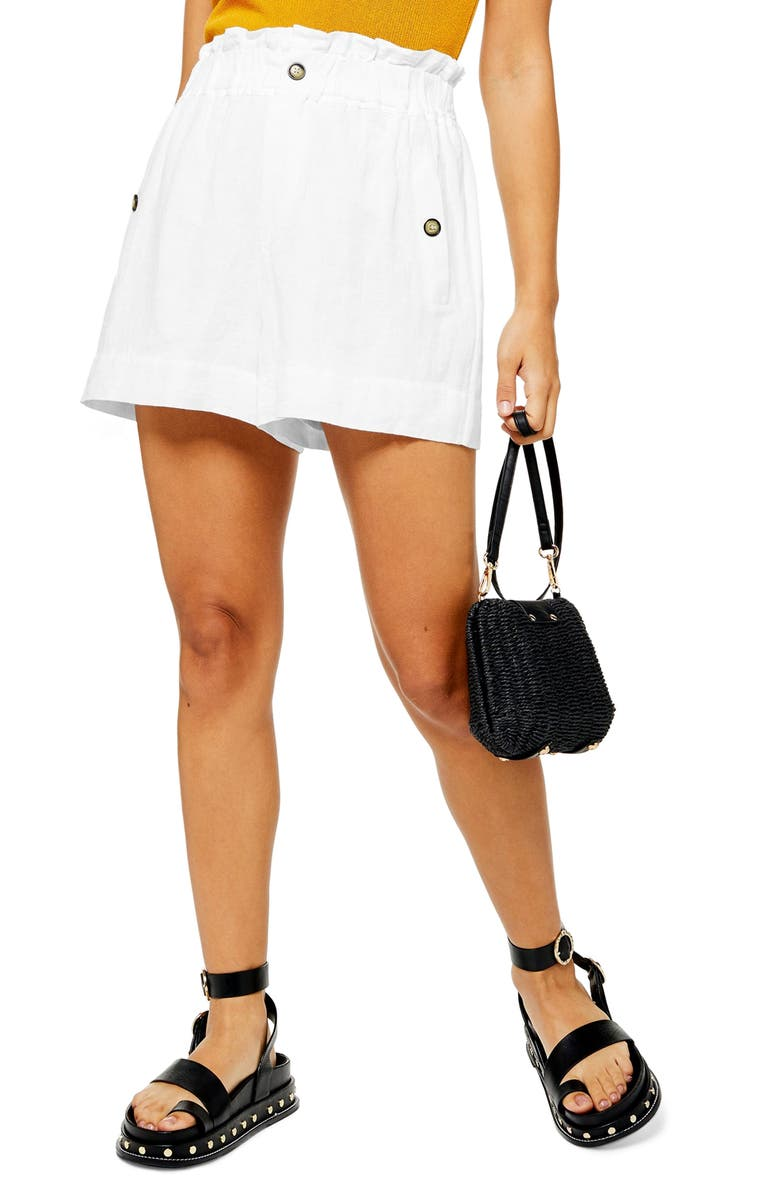 TOPSHOP Paperbag Waist Shorts, Main, color, 100