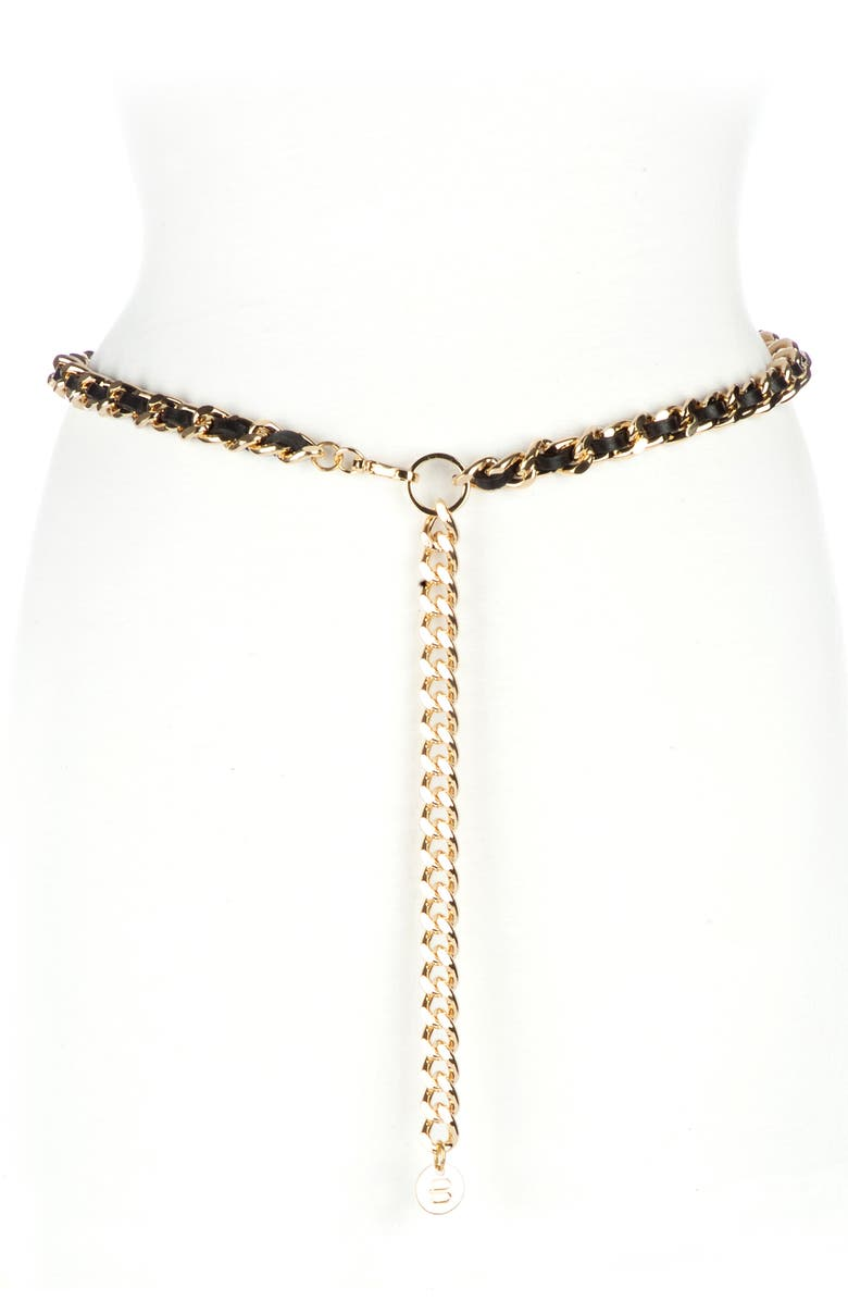 BRAVE LEATHER Doone Woven Chain Belt, Main, color, 001