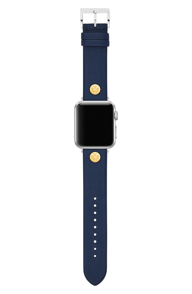 TORY BURCH Leather Strap for Apple Watch<sup>®</sup>, 38mm/40mm, Main, color, NAVY