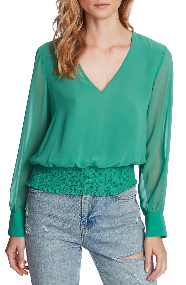 1.STATE Smocked Waist Blouse, Main, color, FRESH GRASS