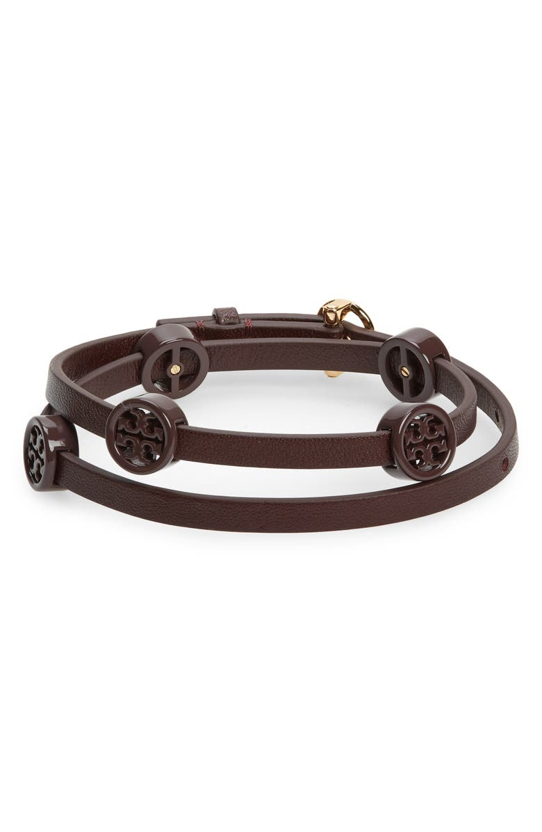 TORY BURCH Miller Wrap Leather Bracelet, Main, color, TORY GOLD / TEMPRANILLO