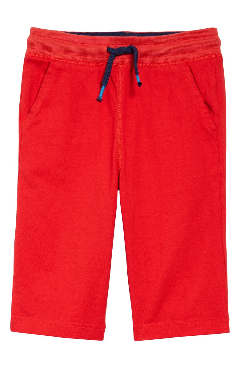 MINI BODEN Kids' Colorblock Knit Shorts, Main, color, STRAWBERRY TART RED/ NAVY
