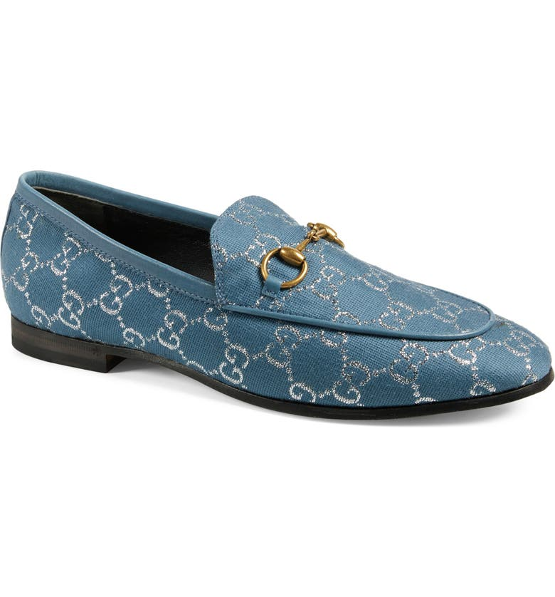 GUCCI New Jordaan Metallic GG Loafer, Main, color, BLUE/ SILVER/ BLUE