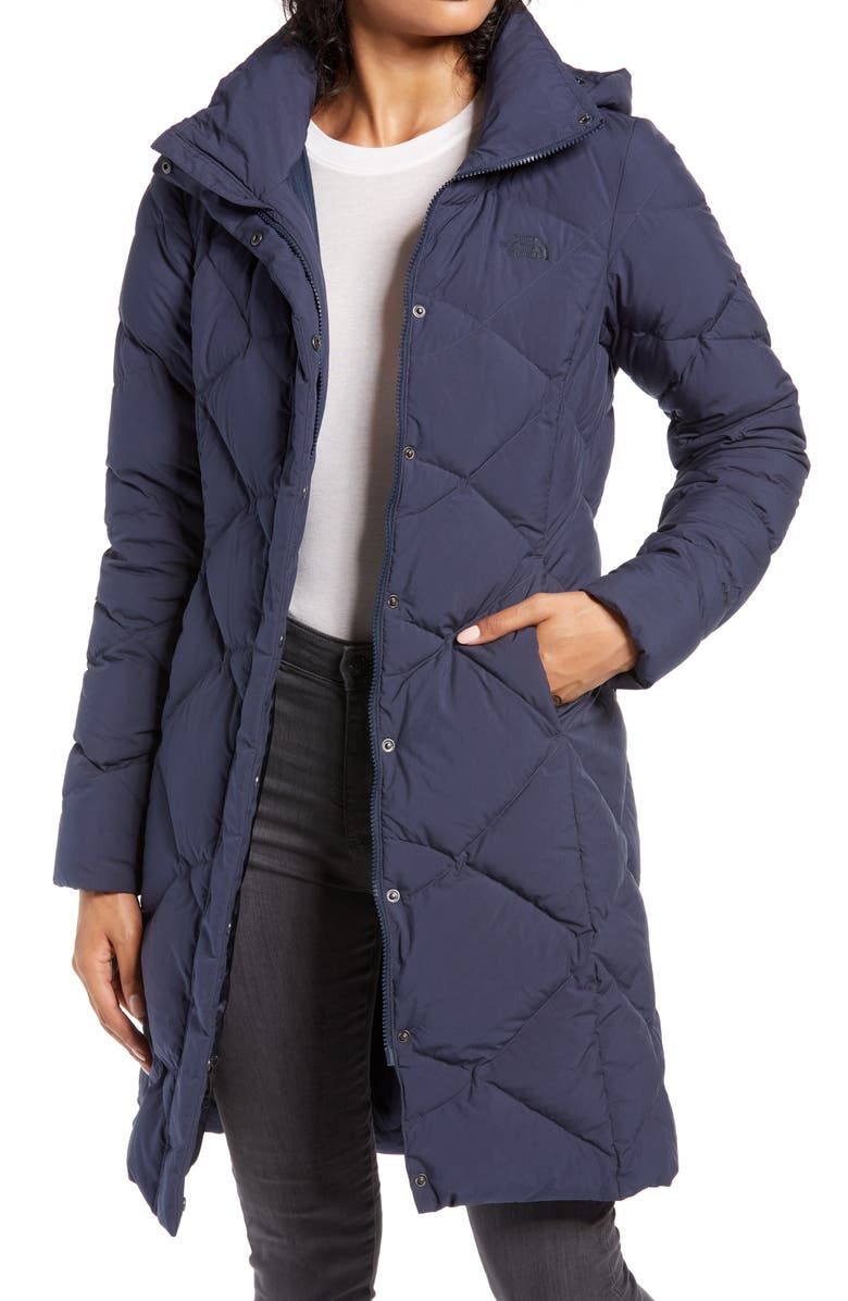 THE NORTH FACE Miss Metro II Hooded Water Resistant Down Parka, Main, color, URBAN NAVY