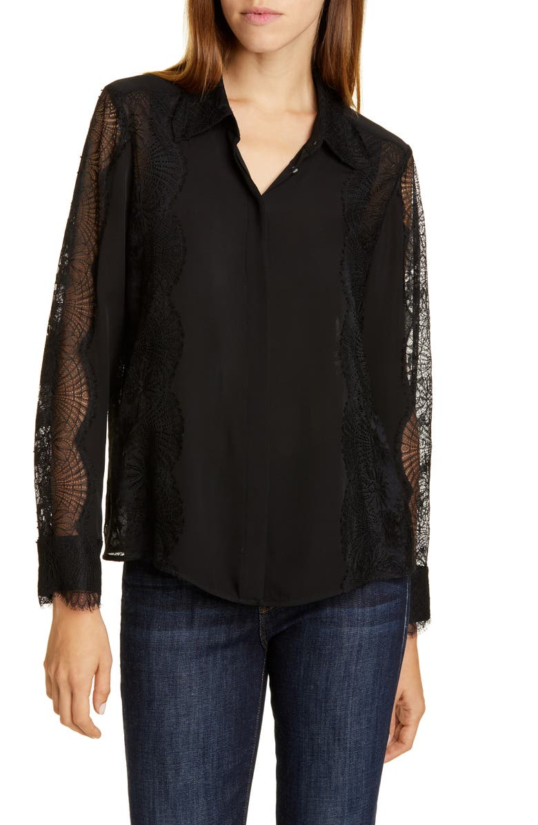 TAILORED BY REBECCA TAYLOR Lace Detail Silk Blouse, Main, color, 001