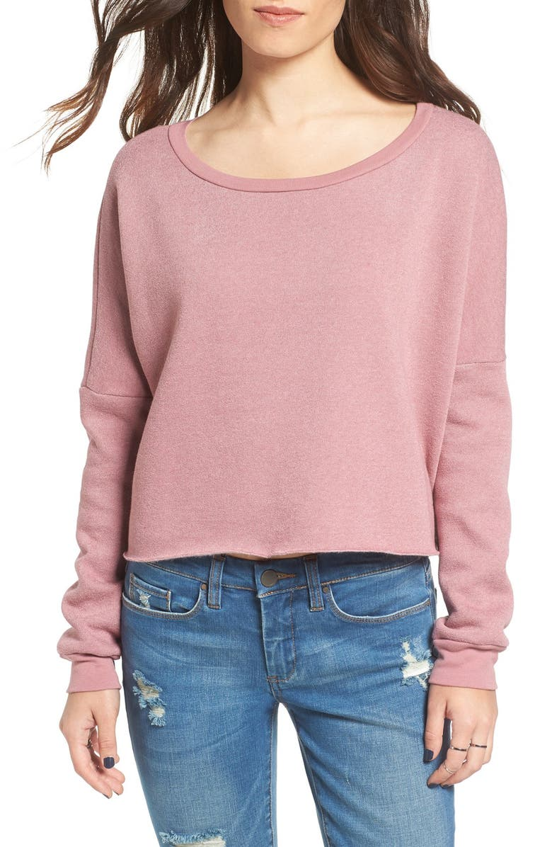 PST BY PROJECT SOCIAL T Project Social T Raw Edge Crop Sweatshirt, Main, color, 650