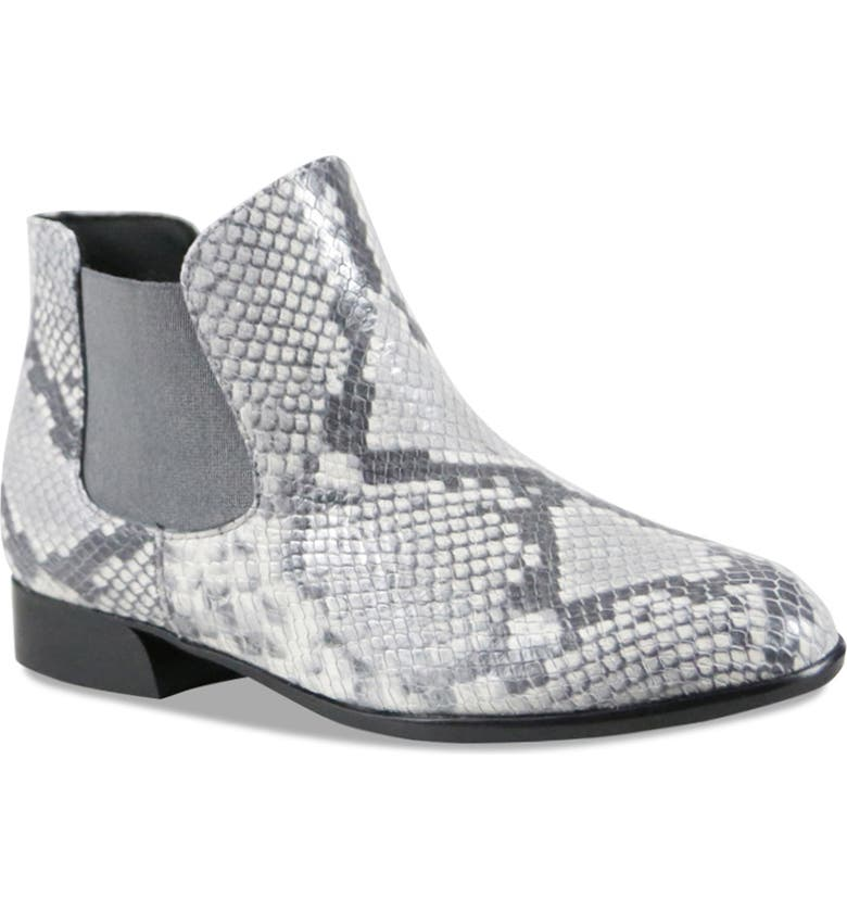 MUNRO Cate Water Resistant Chelsea Boot, Main, color, GREY SNAKE PRINT LEATHER