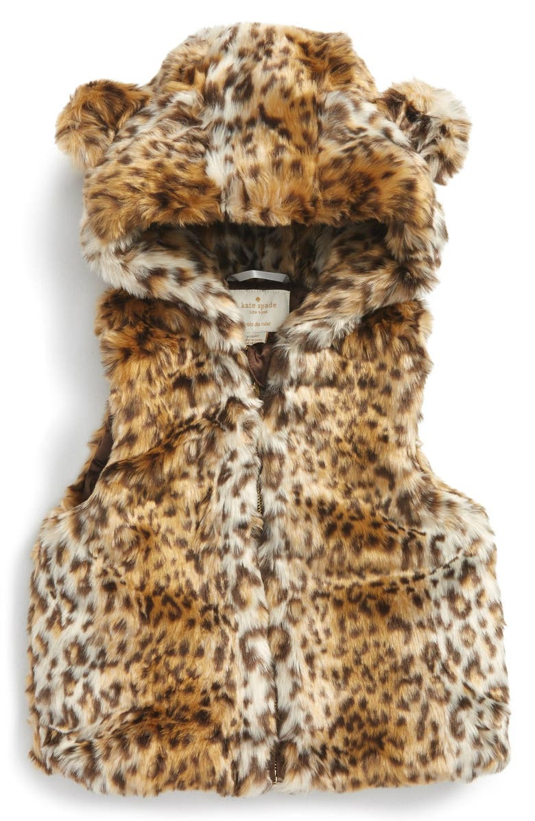 KATE SPADE NEW YORK faux fur hooded vest, Main, color, 001