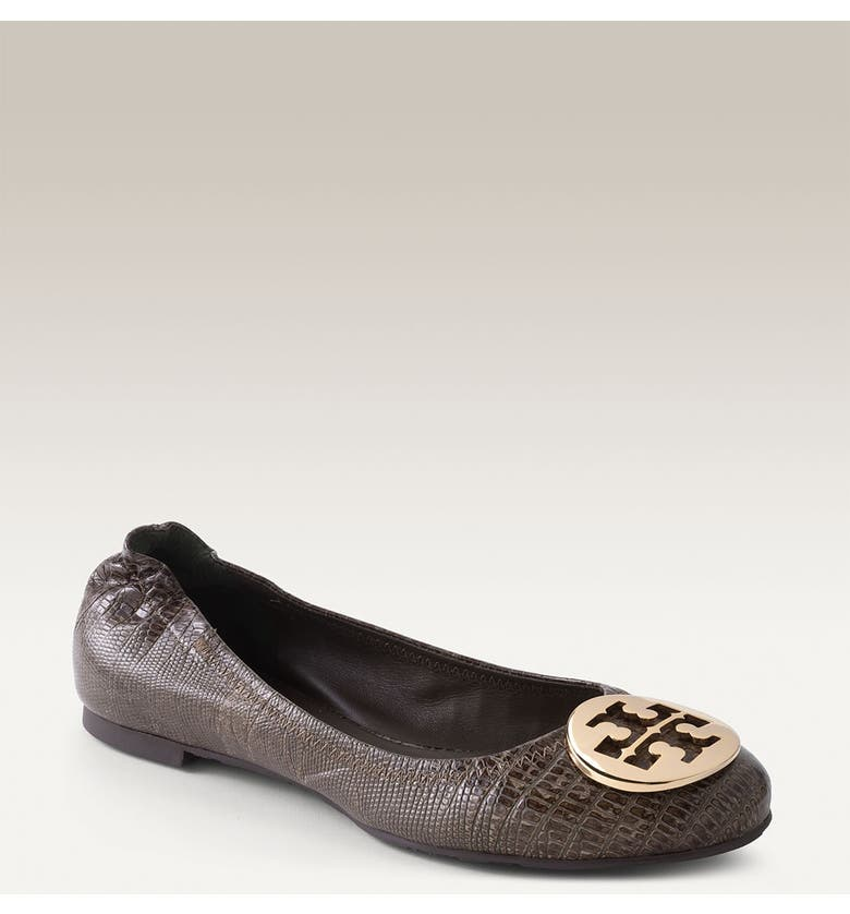 TORY BURCH 'Reva' Lizard Embossed Leather Flat, Main, color, 323
