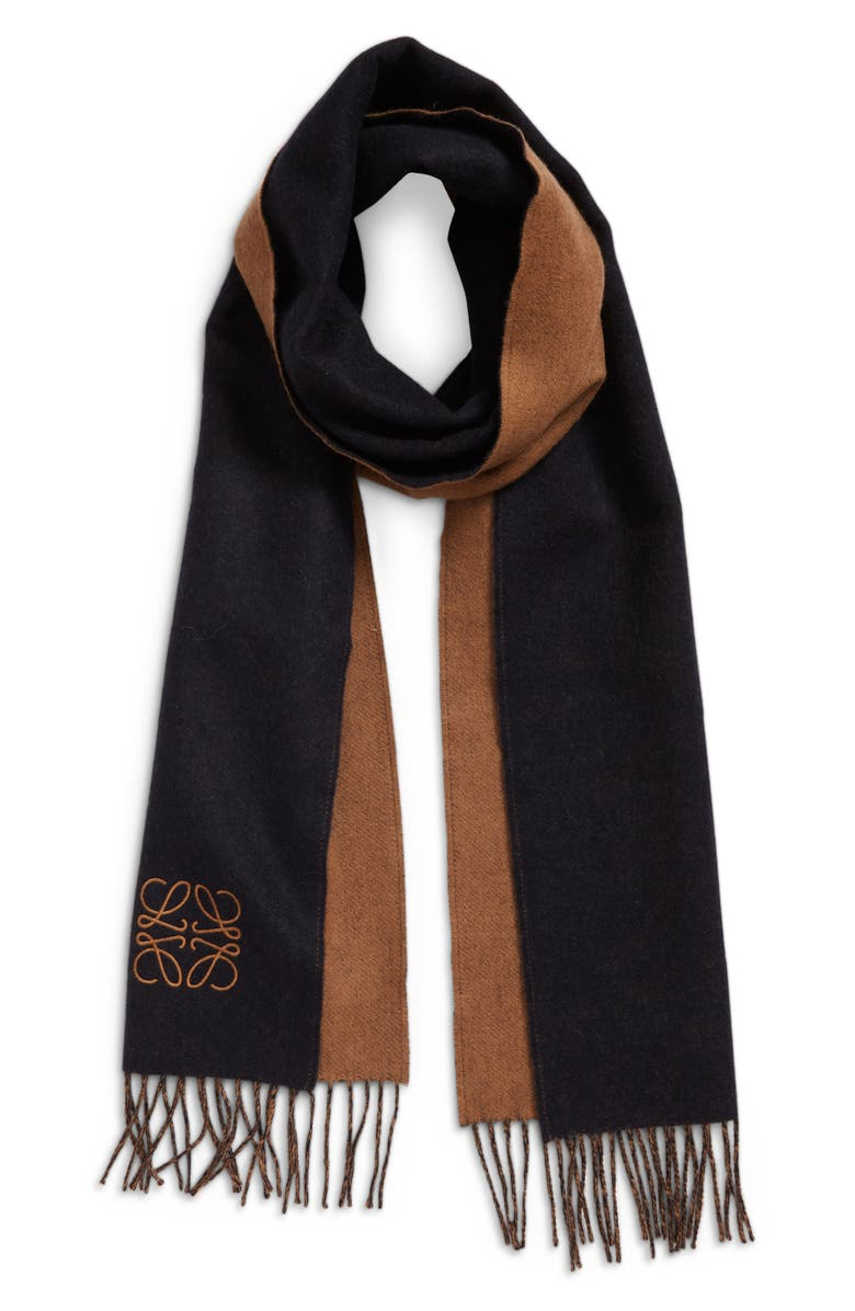 LOEWE Anagram Double Face Wool & Cashmere Scarf, Main, color, NAVY/ BROWN