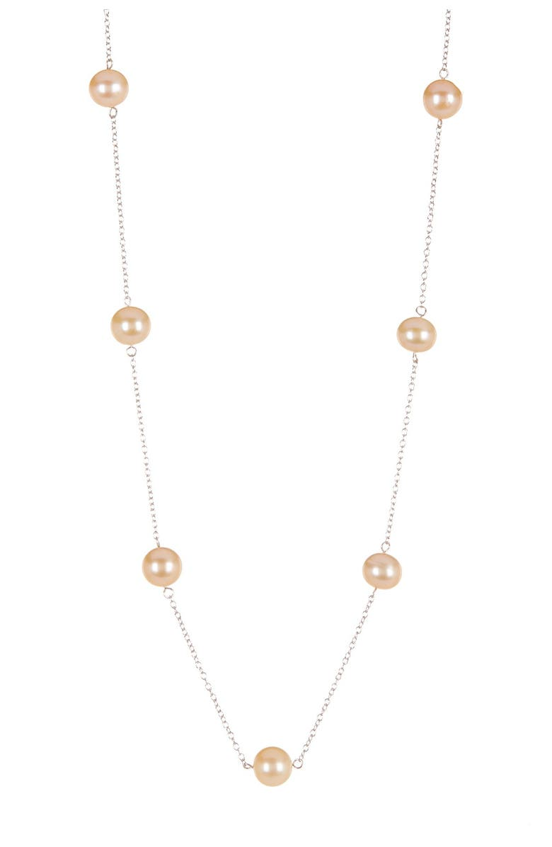 SPLENDID PEARLS 7-7.5mm Pink Cultured Freshwater Pearl Tin Cup Station Necklace, Main, color, DYED PINK