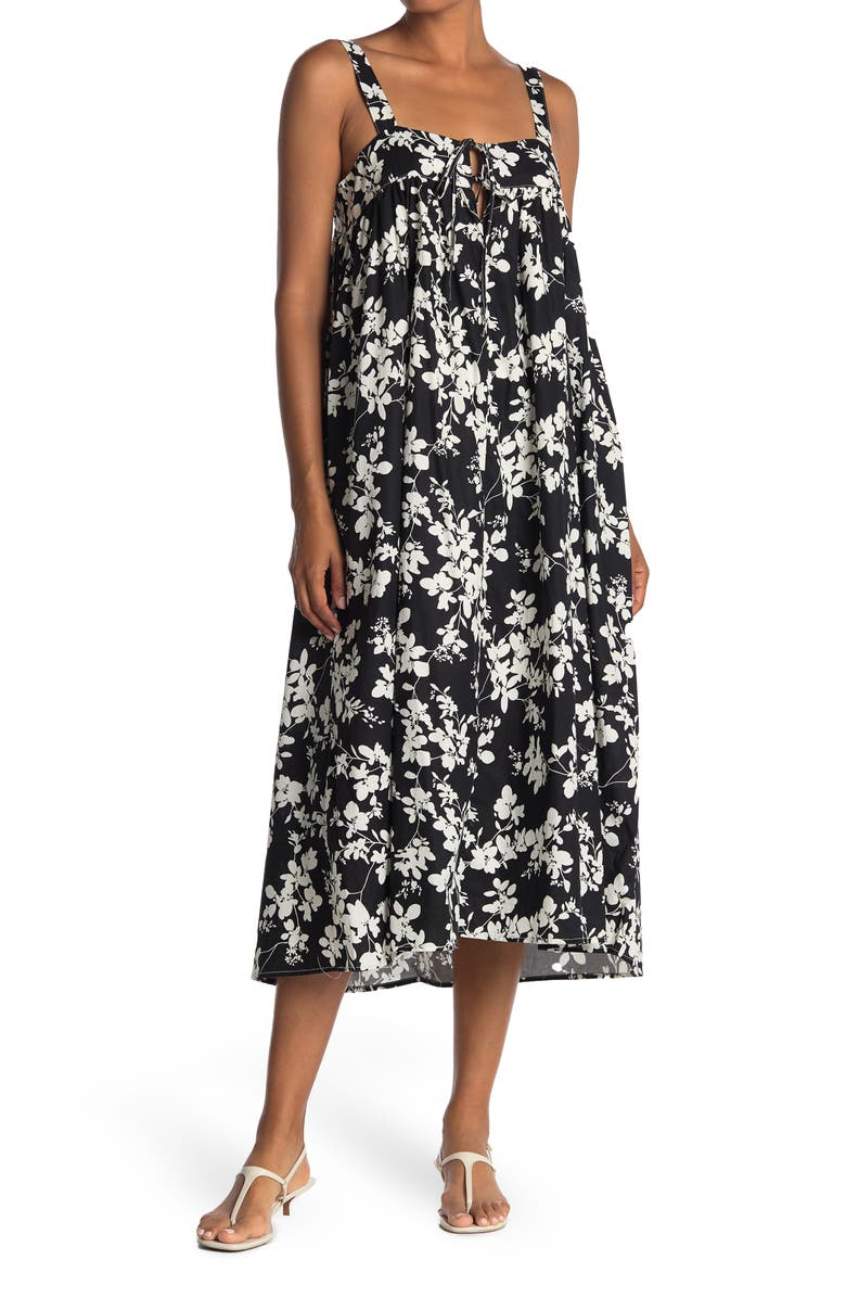 STITCHDROP Floral Sleeveless Tie Front Midi Dress, Main, color, SIMPLE BLACK FAUNA