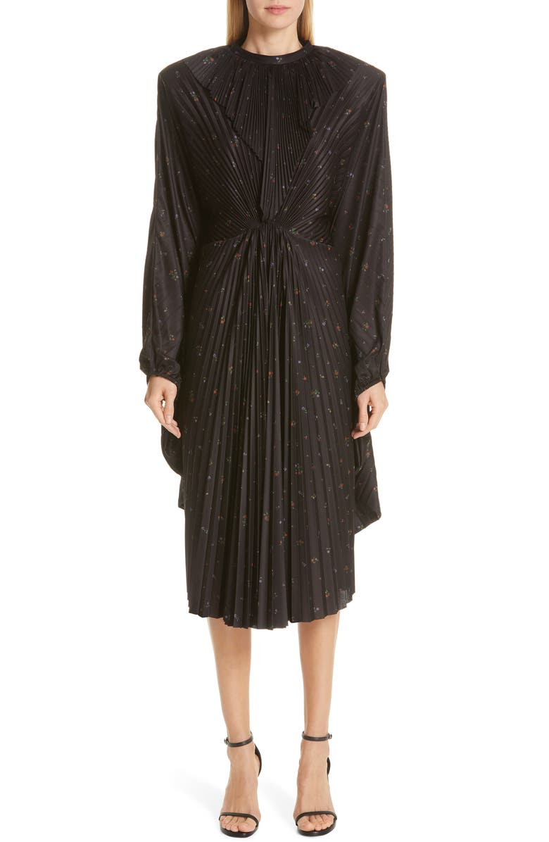 VETEMENTS Plissé Wing Dress, Main, color, 001