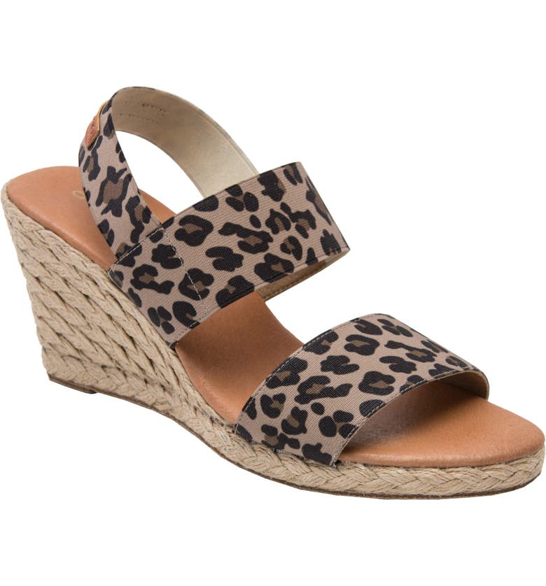ANDRÉ ASSOUS Allison Wedge Sandal, Main, color, LEOPARD PRINT FABRIC