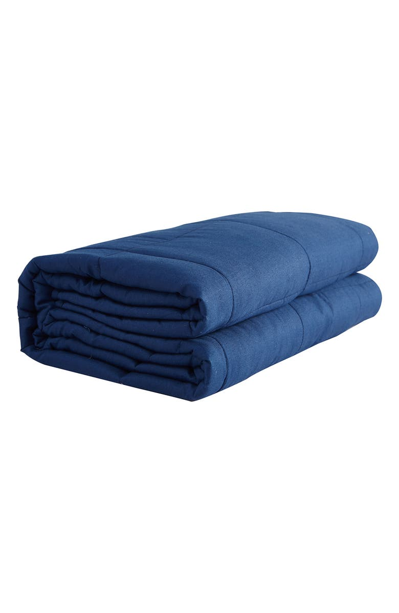 """PUR SERENITY 20 lbs Cotton Weighted Blanket 48""""x 72""""- Navy, Main, color, NAVY"""
