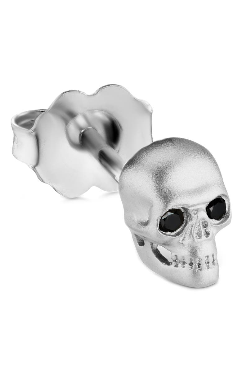 MARIA TASH Large Matte Skull with Diamond Eyes Threaded Stud Earring, Main, color, WHITE GOLD