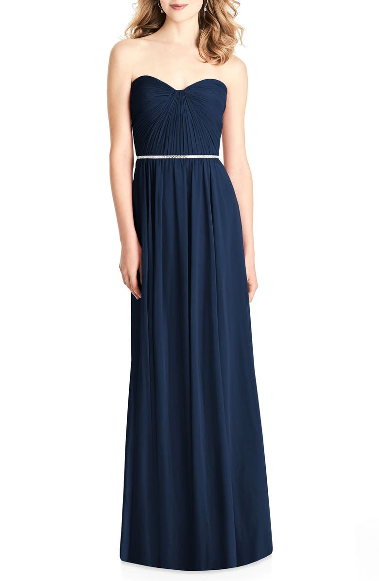 JENNY PACKHAM Strapless Chiffon A-Line Gown, Main, color, 405