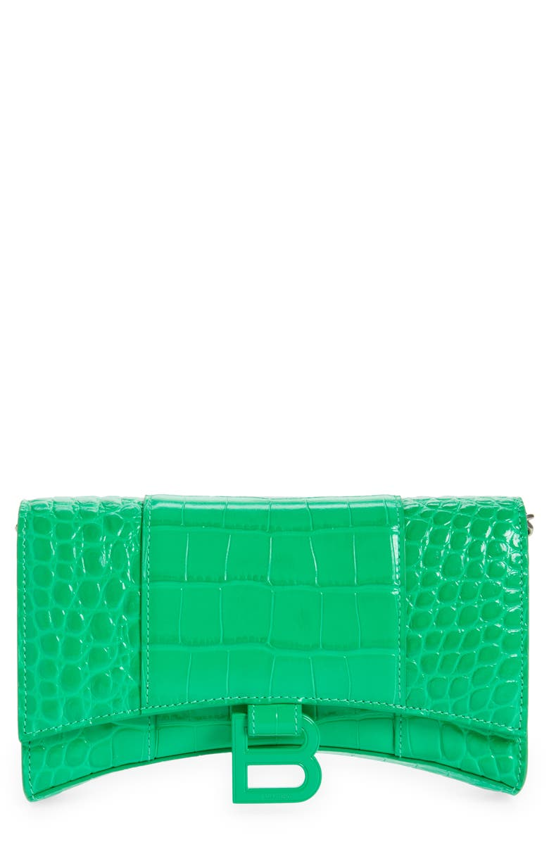 BALENCIAGA Hourglass Croc Embossed Leather Wallet on a Chain, Main, color, VIVID GREEN
