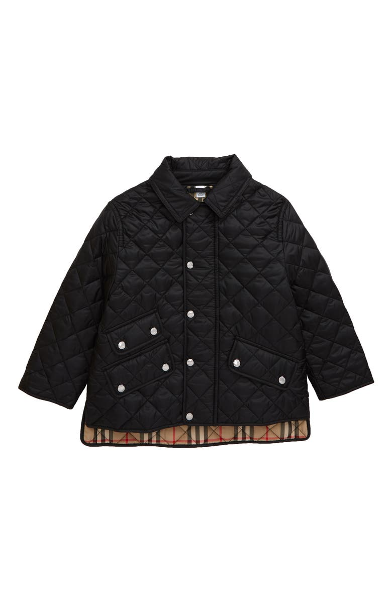 BURBERRY Brennan Water Resistant Diamond Quilted Jacket, Main, color, 001