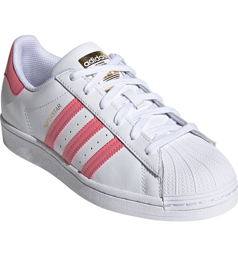 ADIDAS Superstar Sneaker, Main, color, CLOUD WHITE/REAL PINK