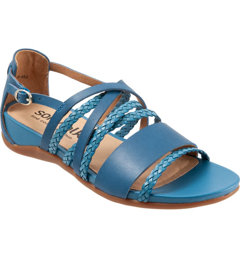 SOFTWALK<SUP>®</SUP> Tula Sandal, Main, color, BLUE LEATHER