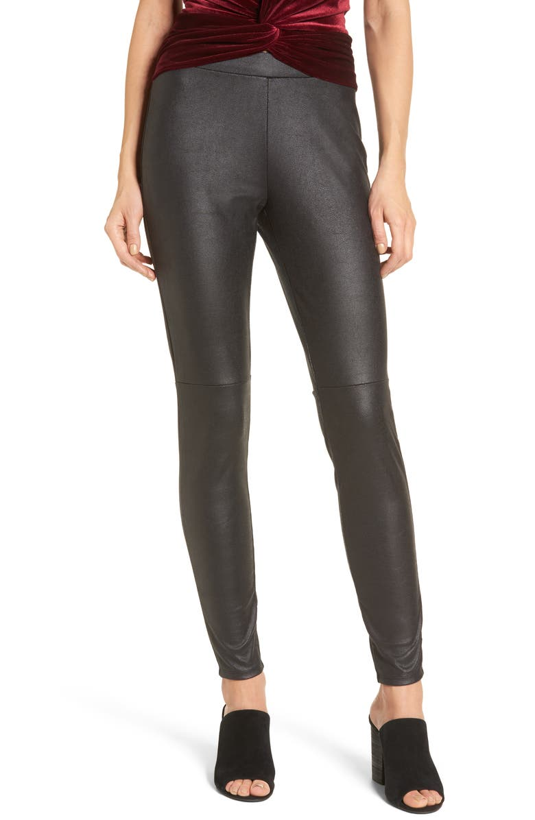 TROUVÉ Faux Leather Leggings, Main, color, 001