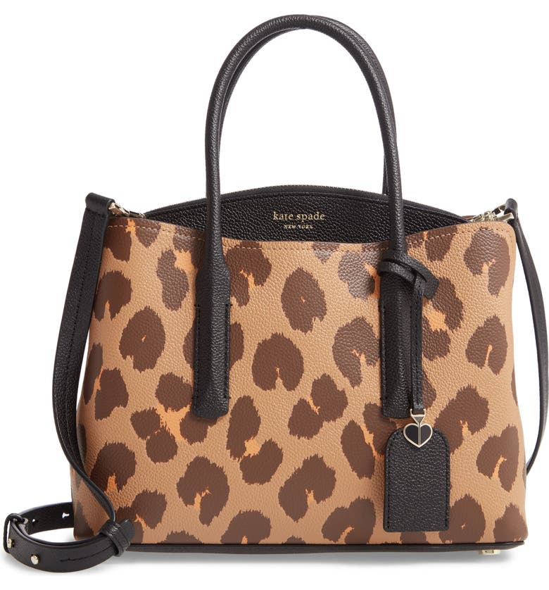 KATE SPADE NEW YORK medium margaux leopard print leather satchel, Main, color, 245