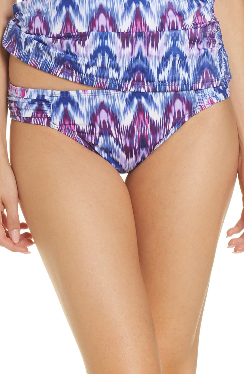 TOMMY BAHAMA Ikat Mirage Side Shirred Swim Bottoms, Main, color, 400