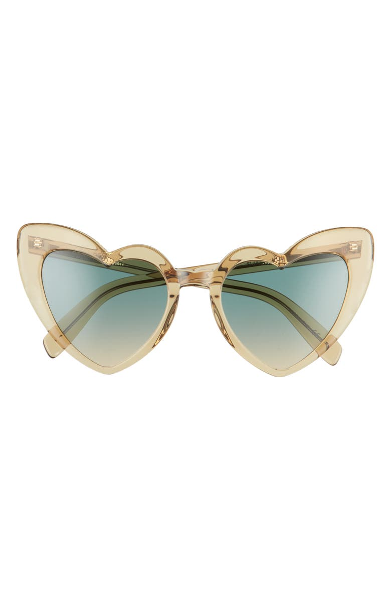 SAINT LAURENT Loulou 54mm Heart Sunglasses, Main, color, YELLOW/ GREEN