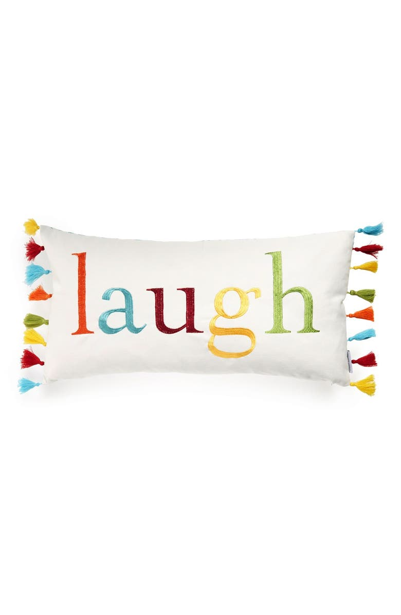LEVTEX 'Laugh' Embroidered Pillow, Main, color, 100