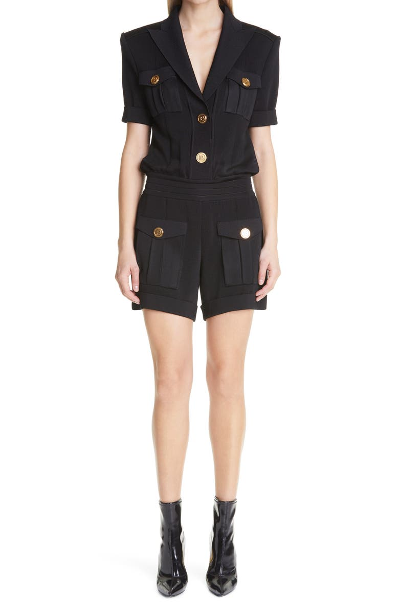 BALMAIN Peaked Lapel Short Knit Jumpsuit, Main, color, NOIR