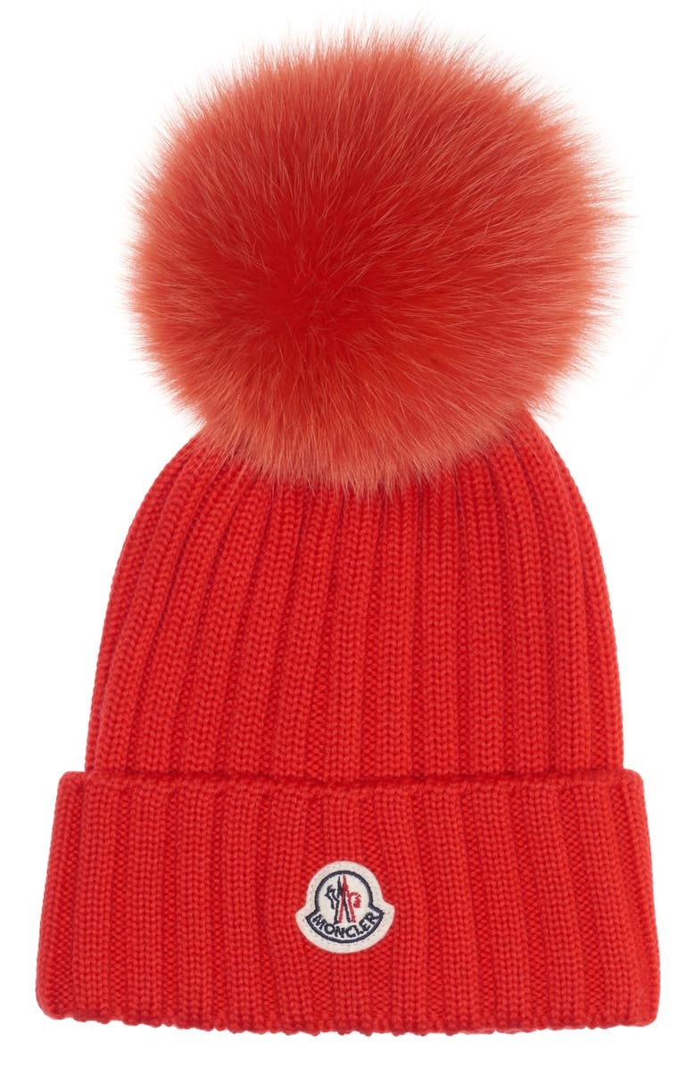 MONCLER Genuine Fox Fur Pom Rib Wool Beanie, Main, color, 611