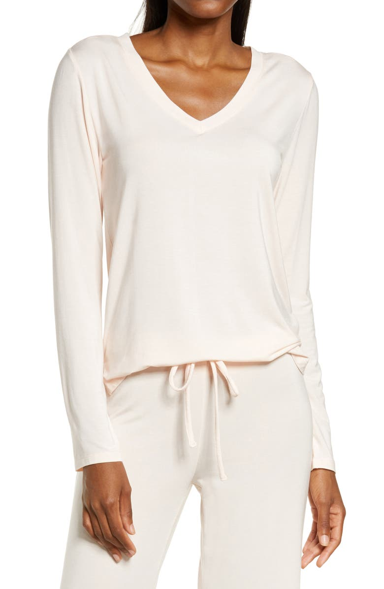 NORDSTROM Moonlight V-Neck Long Sleeve Pajama Top, Main, color, PINK CREOLE