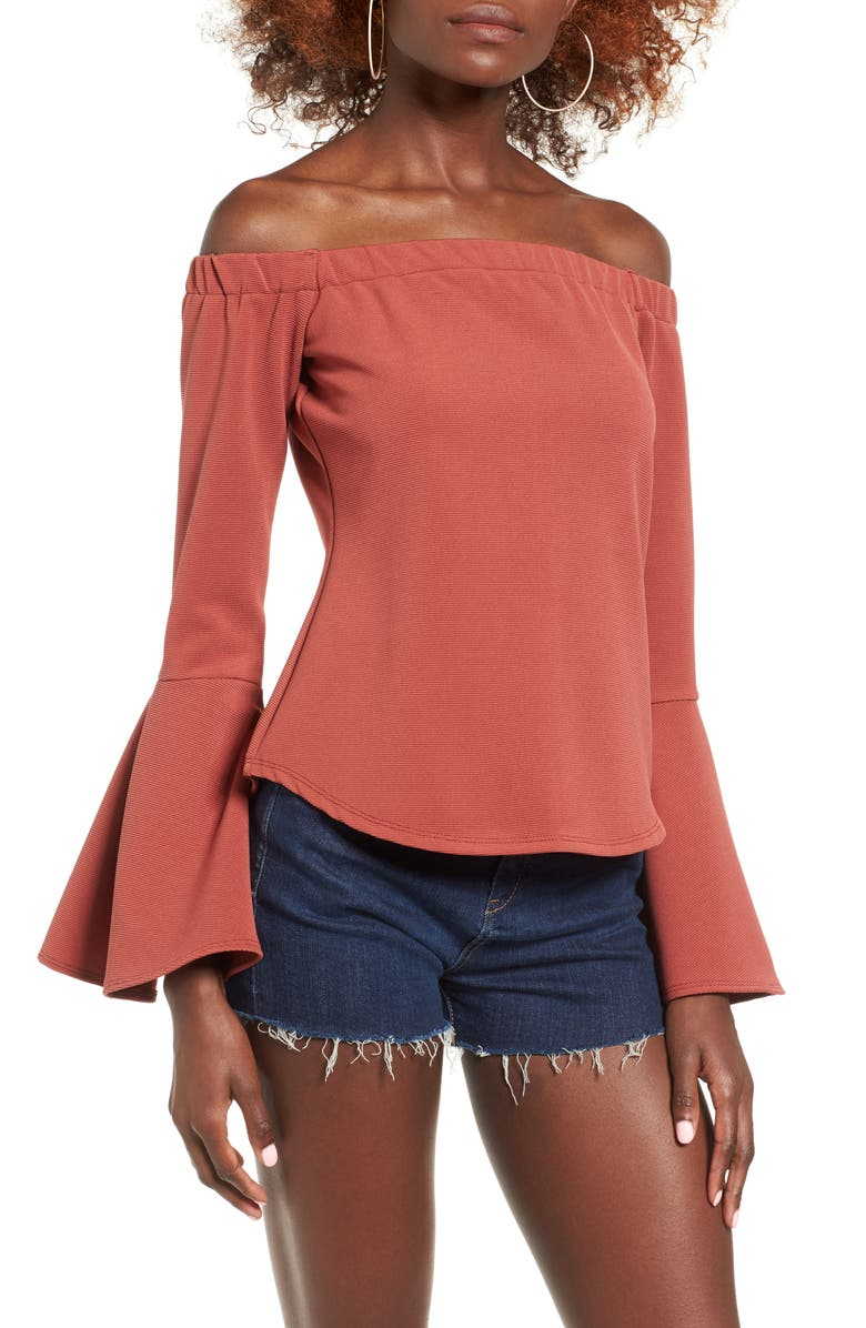 LEITH Bell Sleeve Off the Shoulder Top, Main, color, 221