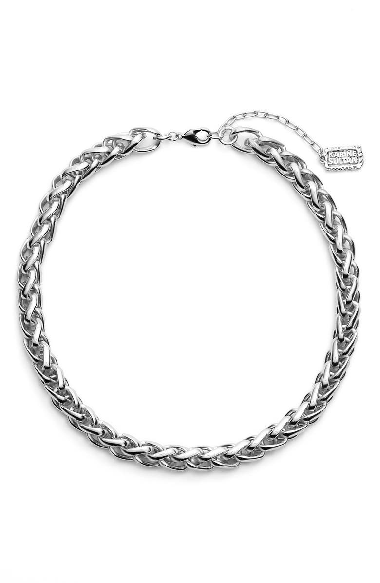 KARINE SULTAN Braided Link Collar Necklace, Main, color, Silver