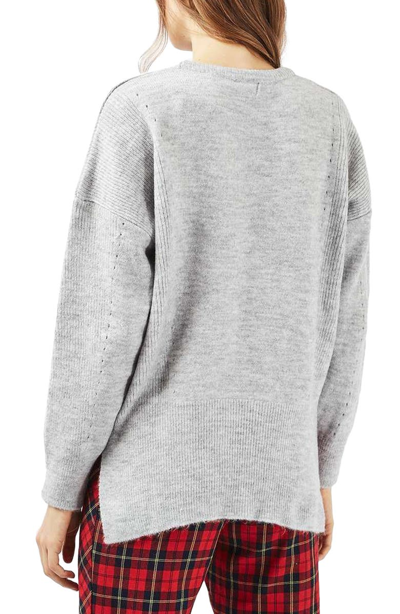 TOPSHOP Pointelle Boxy Sweater, Main, color, GREY