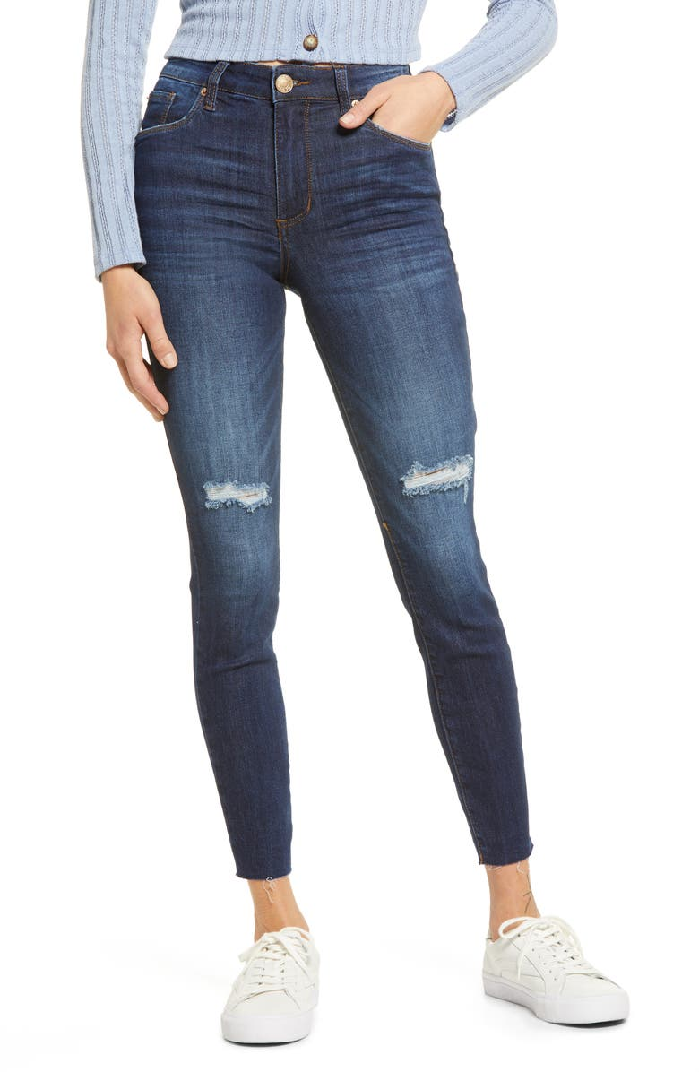 STS BLUE Ellie High Rise Raw Hem Ankle Jeans, Main, color, LAS FLORES CANYON