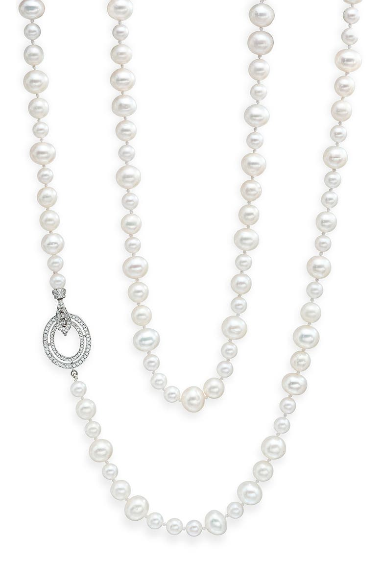 IVANKA TRUMP Long Freshwater Pearl & Diamond Clasp Necklace, Main, color, 100