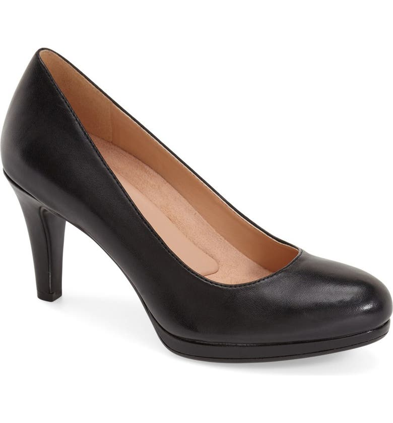 NATURALIZER 'Michelle' Almond Toe Pump, Main, color, BLACK LEATHER