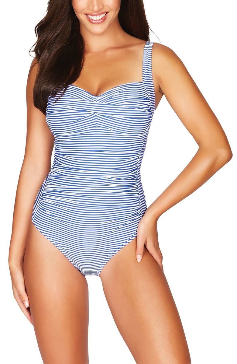 SEA LEVEL Stripe Twist Front One-Piece Swimsuit, Main, color, FRENCH BLUE
