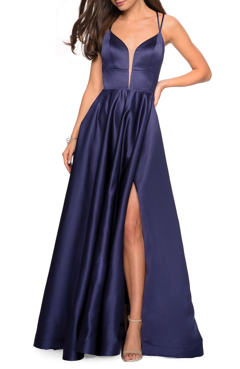 LA FEMME Strappy Back Satin Ballgown, Main, color, NAVY