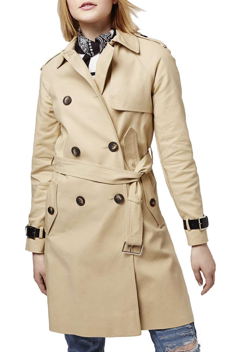 TOPSHOP Military Trench Coat, Main, color, CREAM