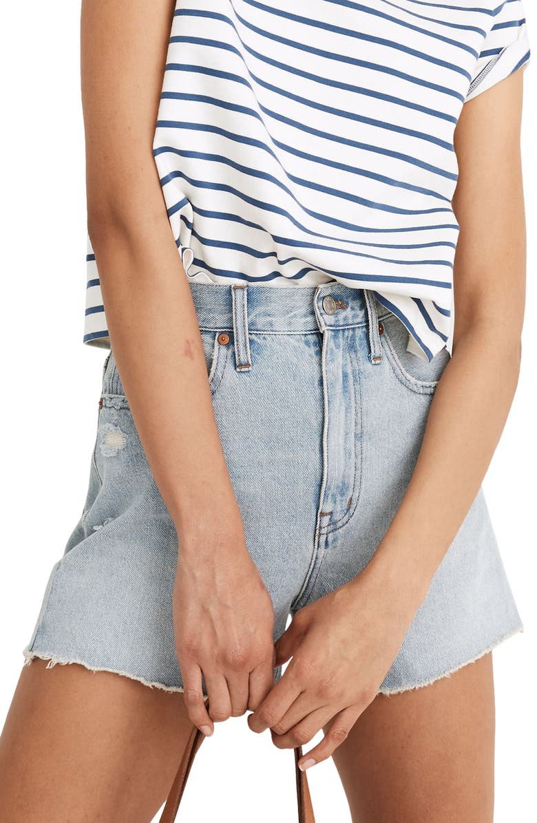 MADEWELL The Ripped Momjean Recycled Denim Shorts, Main, color, BYERS
