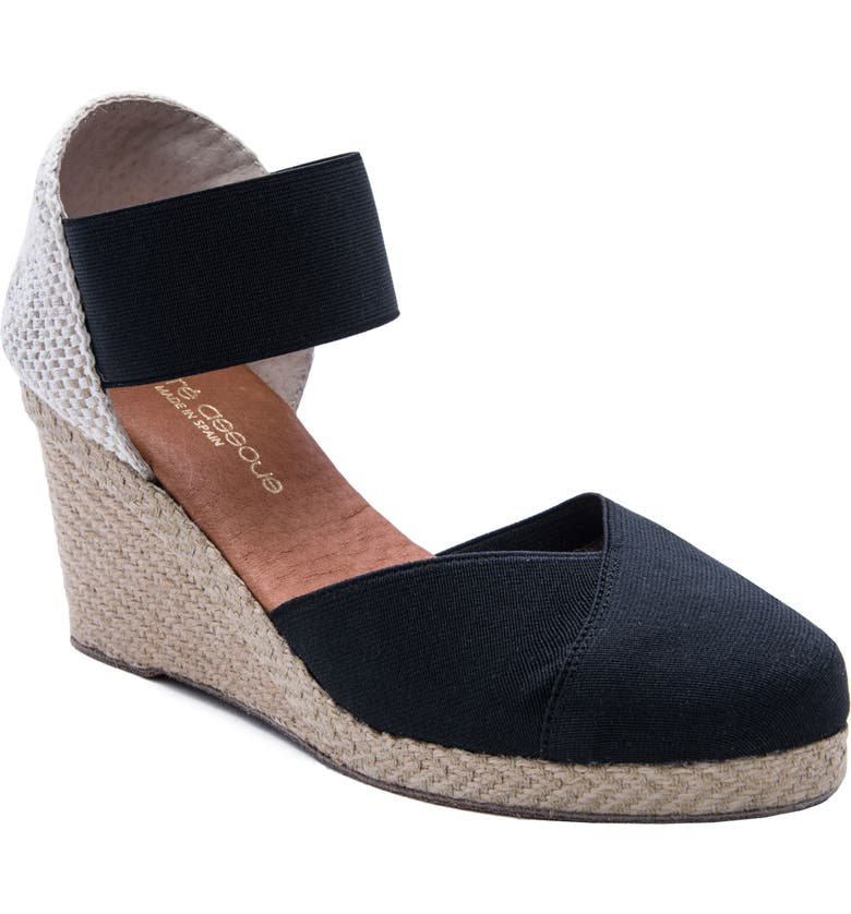 ANDRÉ ASSOUS Anouka Espadrille Wedge, Main, color, BLACK FABRIC