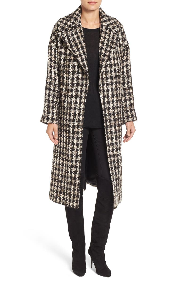 CHARLES GRAY LONDON Tweed Longline Clutch Coat, Main, color, 200