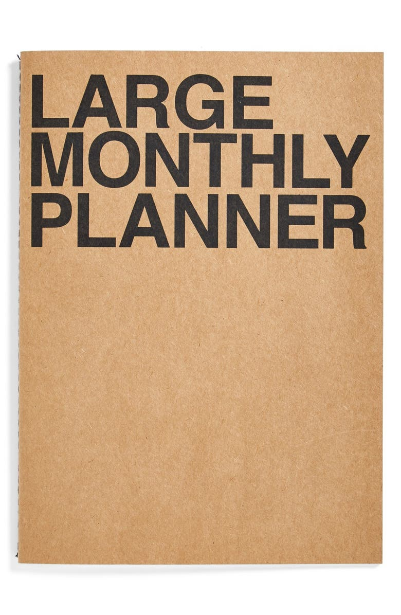 POKETO Large Monthly Planner, Main, color, BEIGE AND BLACK